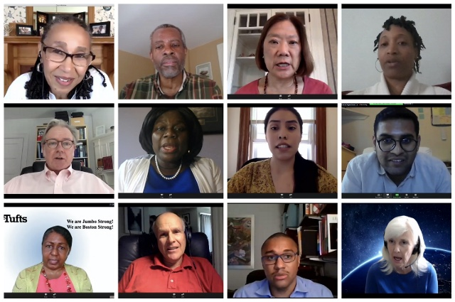 Grid with images of the speaker featured during the Juneteenth virtual program