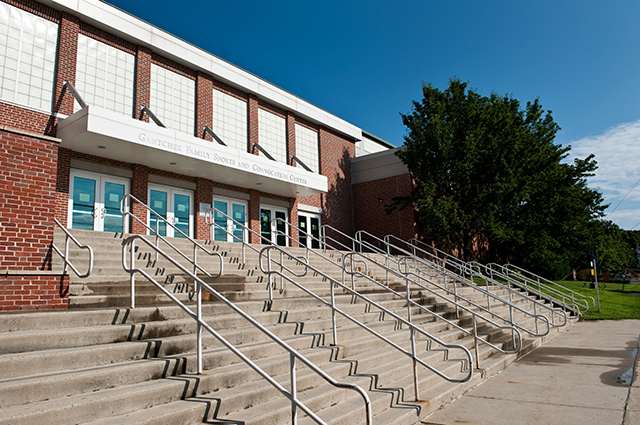 Front steps of the Gantcher Center, the location where students will receive their first COVID-19 upon arriving on campus